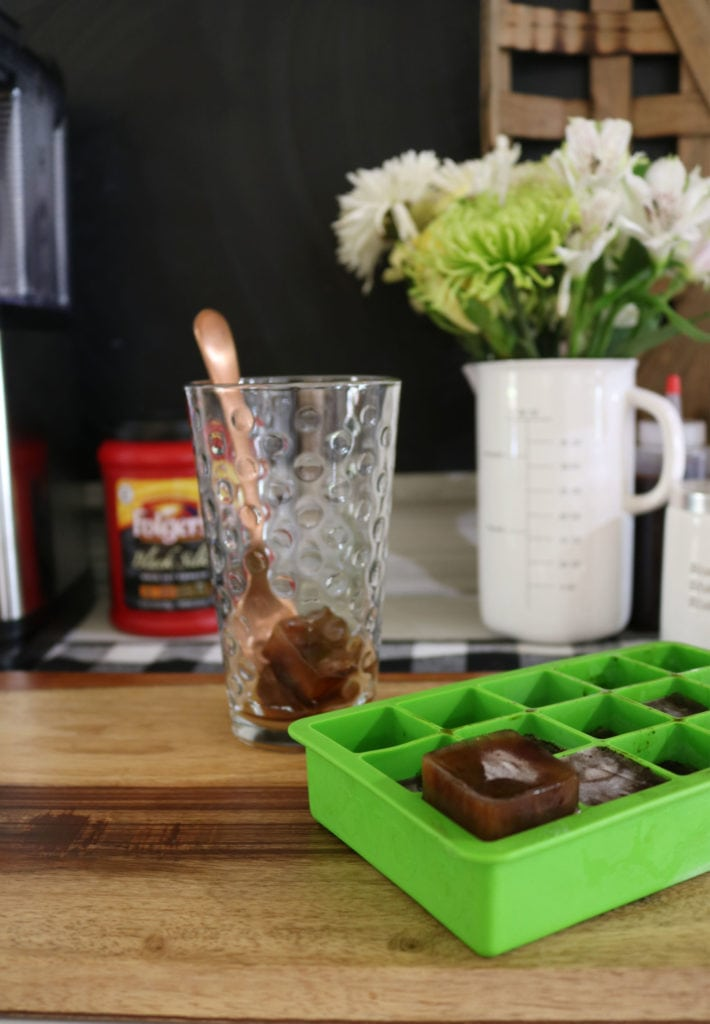 Freeze coffee cubes for iced coffee - doesn't dilute the flavor