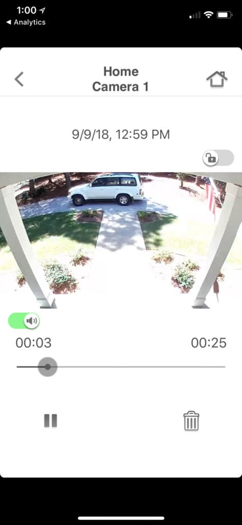 Front door recording with HomeHawk camera