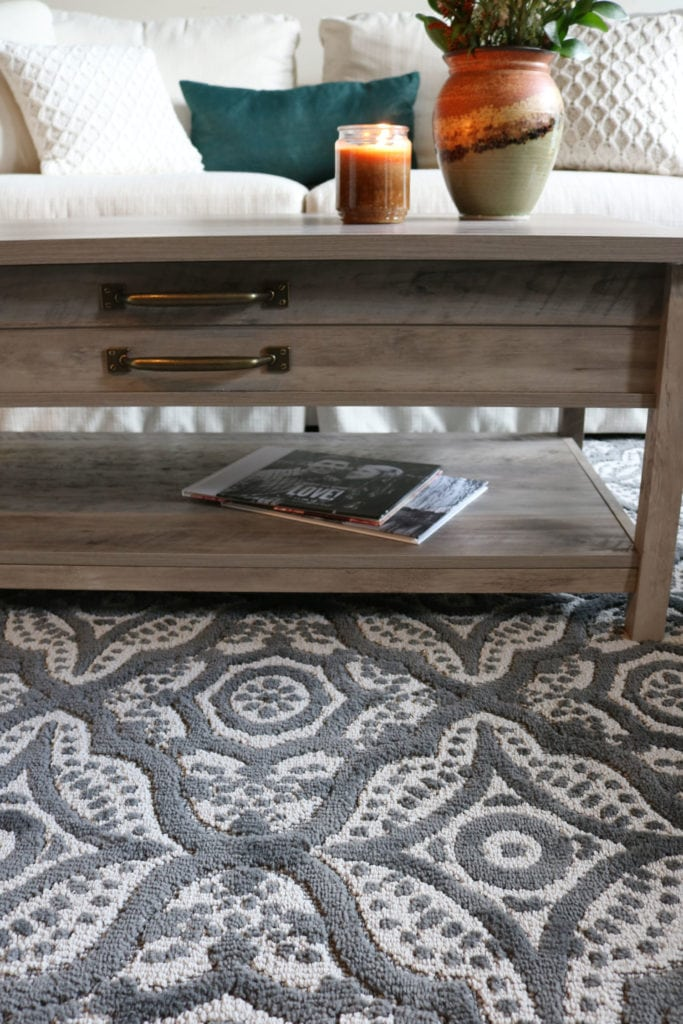Rug Details and rustic coffee table from BHG