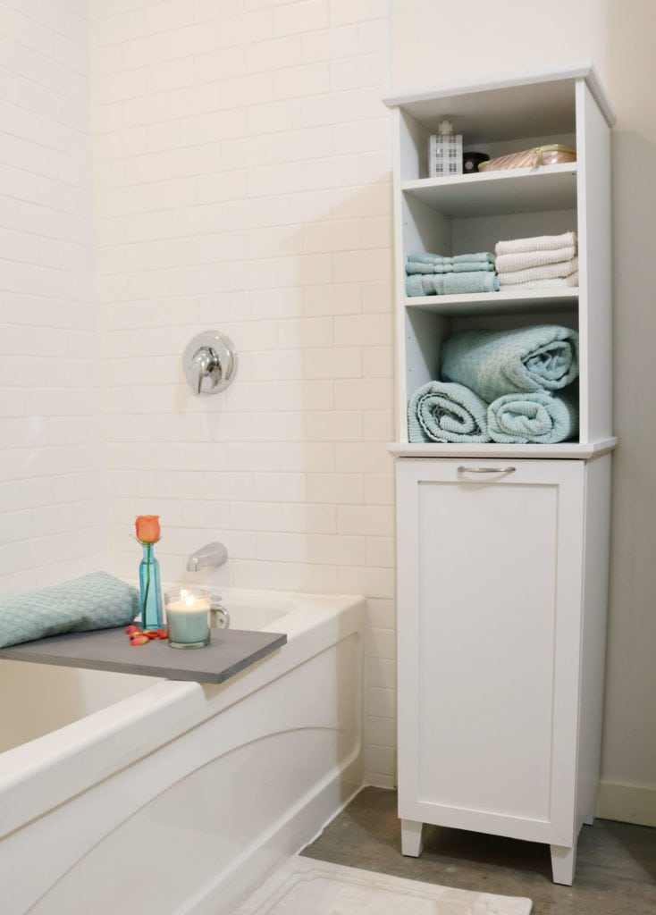 Storage and hamper all in one, perfect for bathroom storage.