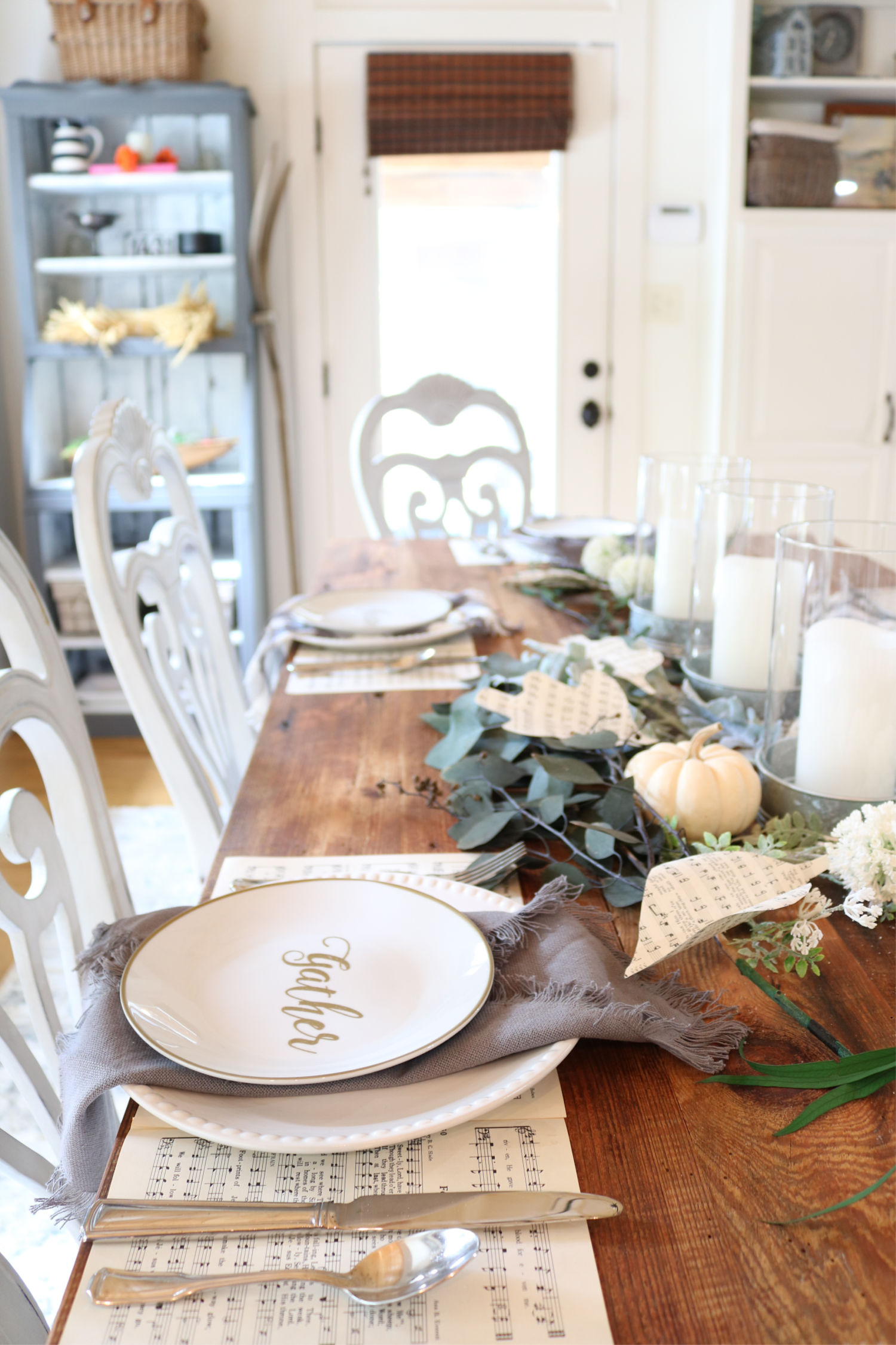Farmhouse place setting - barn wood table
