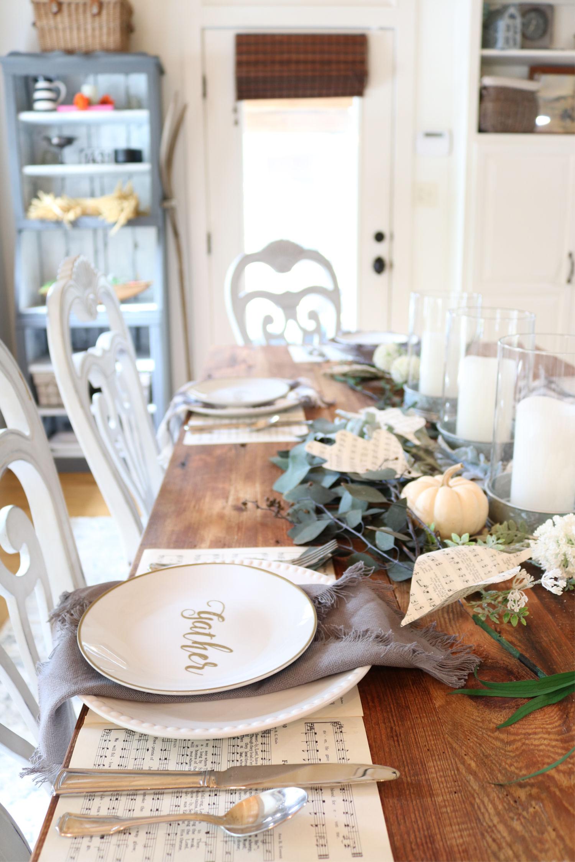 Farmhouse place setting - barn wood table