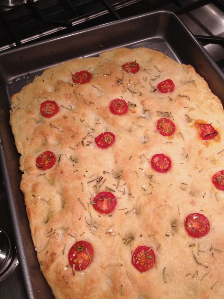 Focaccia bread fresh out of the oven