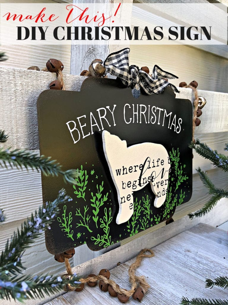 Make this Christmas sign with a scroll saw and Chalk Couture transfers