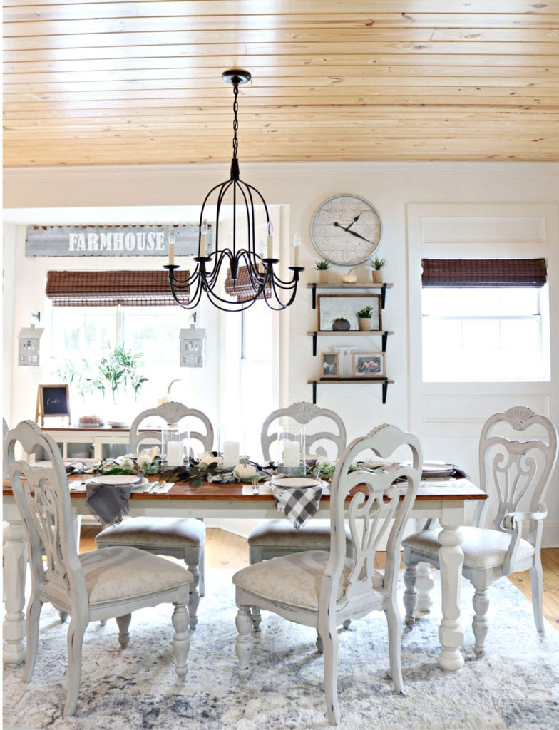 Shiplap ceiling in farmhouse dining room