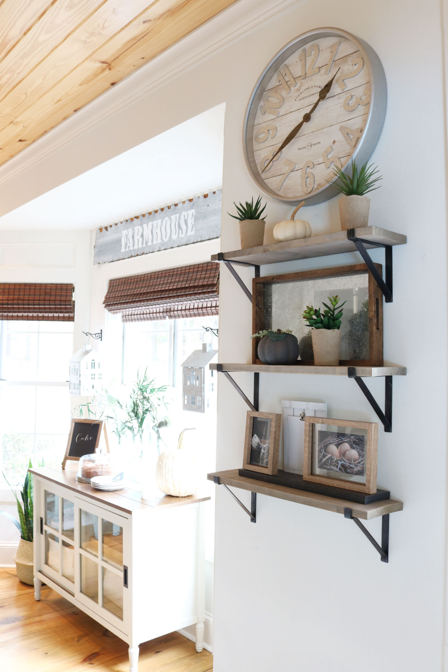 farmhouse shelves - wood and metal galvanized clock