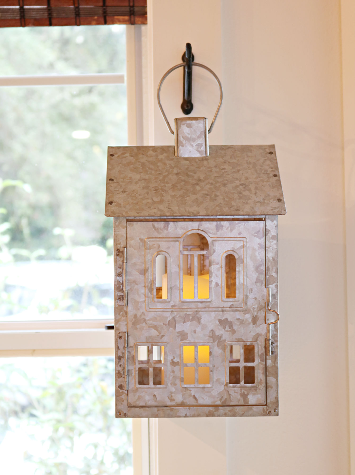 house lantern - Galvanized hanging farmhouse lantern