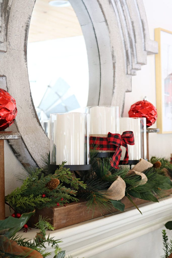 3 Candle holders from BHG Affordable Christmas Decor buffalo plaid