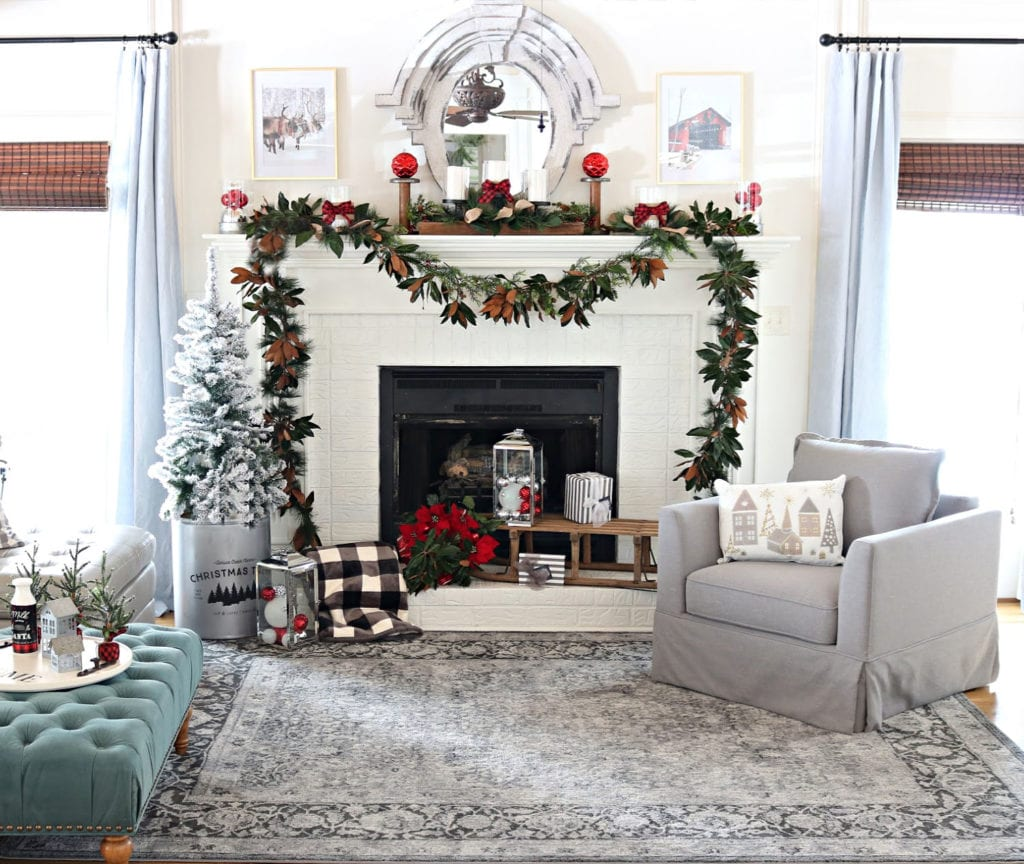BHG Christmas Living room with magnolia garland