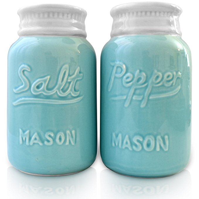 Vintage aqua turquoise salt and pepper shakers