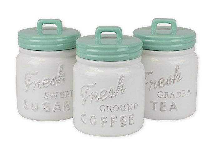 white and turquoise canister set