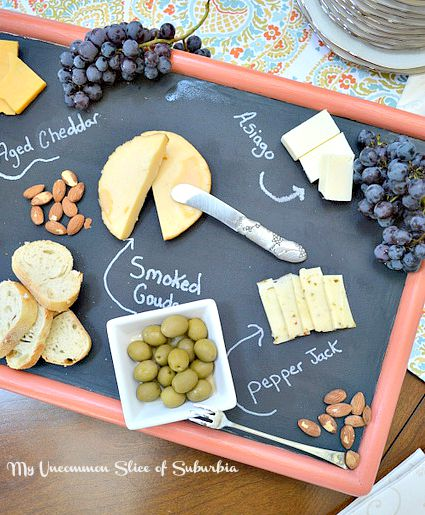 100+ Thrift Store Makeovers - DIY-Cheeseboard-Tray-Made-from-a-old-TV-Tray