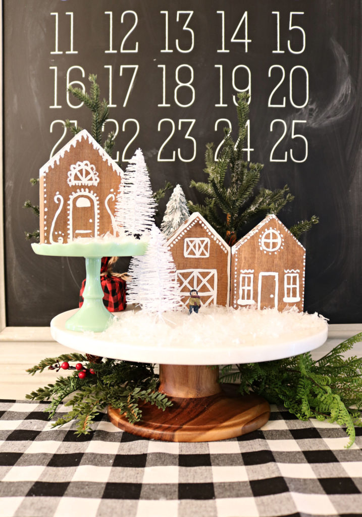 Gingerbread village idea - easy DIY with wood for these houses.