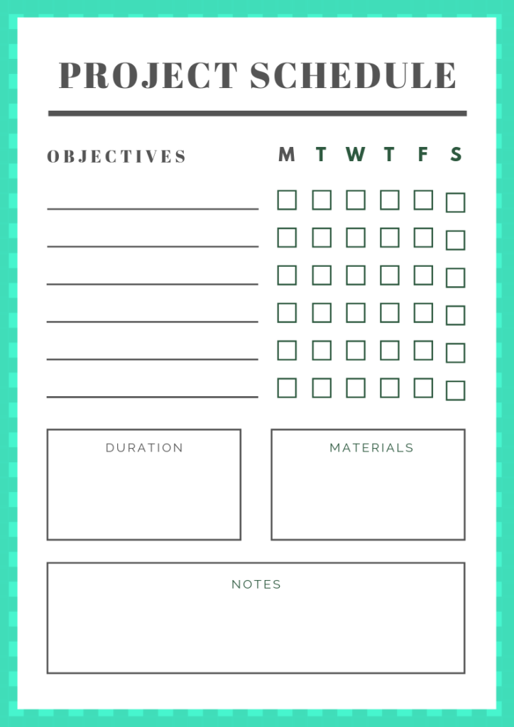 Project Schedule - free printable