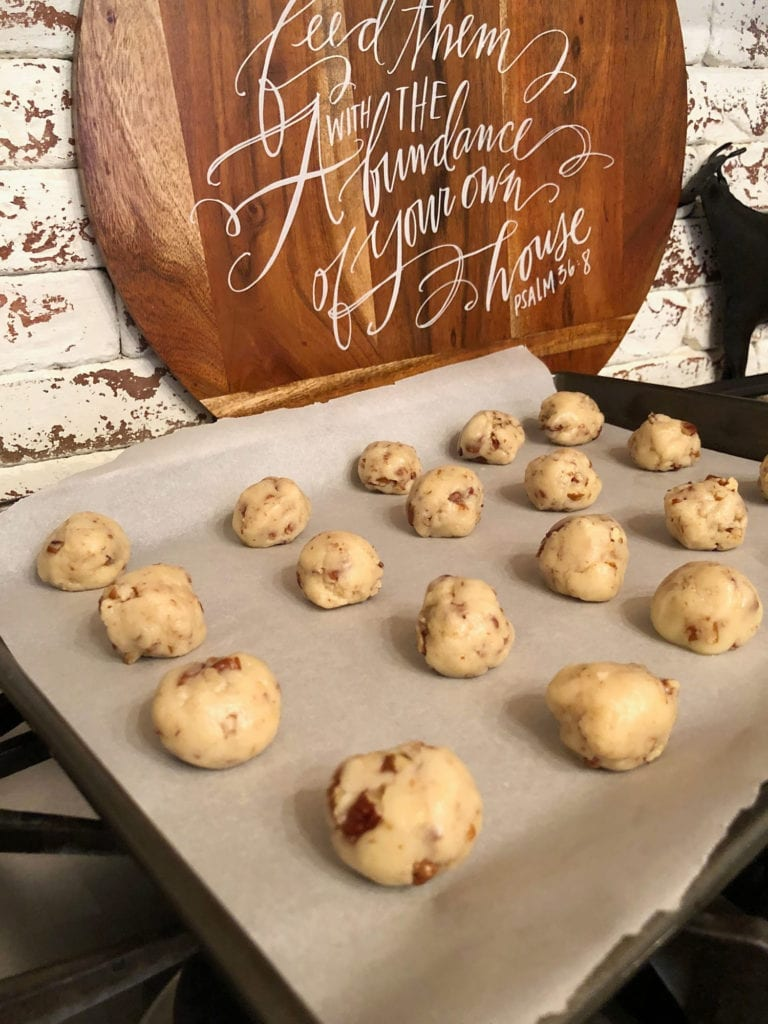 Ready for the oven - Recipe for Pecan Snowball Cookies