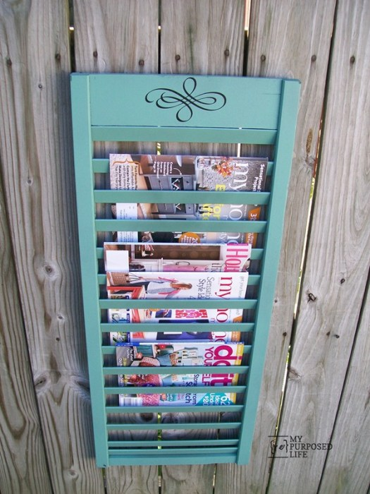 100+ Thrift Store Makeovers - repurposed-shutter-magazine-rack-MyRepurposedLife.com_-1