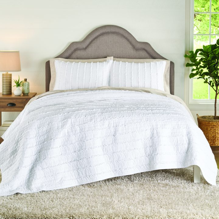 ruffled-bedding - Affordable White Bedding Ideas