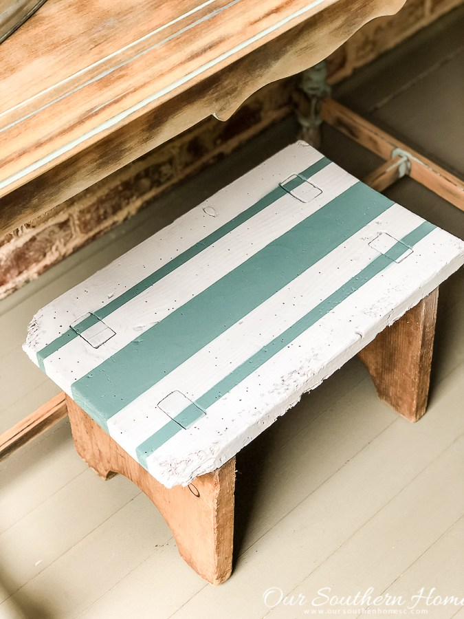 100+ Thrift Store Makeovers - striped-thrift-store-stool-makeover-our-southern-home