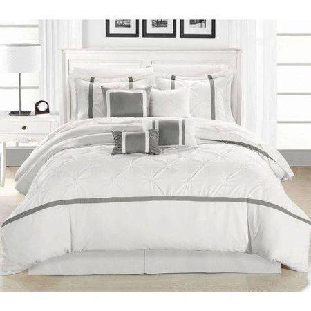 Affordable White Bedding Ideas - white-gray