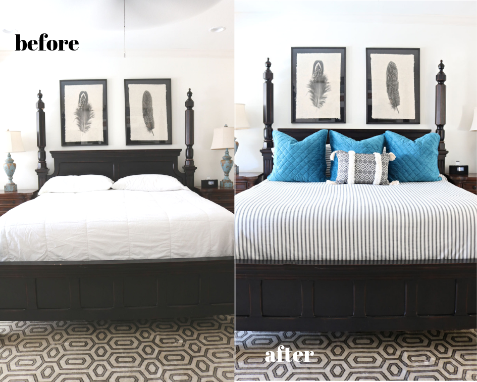 Bedding before after - an affordable makeover