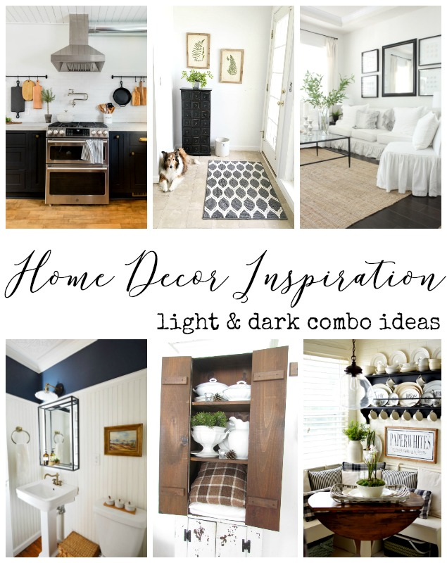 Home decor Ideas light dark combos featured at the Inspiration Monday Party!