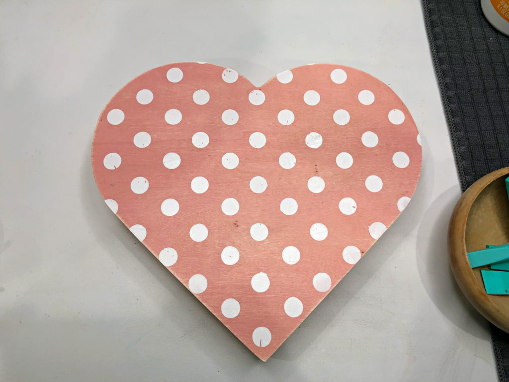 Polka dots on wood heart Chalk Couture DIY Valentine's Day Decor