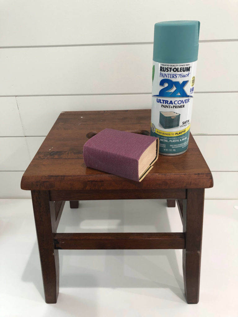 Spray paint wooden stool