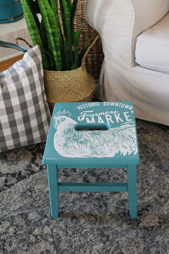 Wooden farmhouse stool