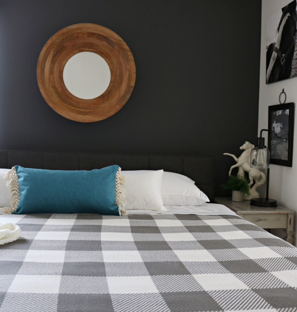 BHG buffalo check blanket -Modern Farmhouse Bedroom Makeover