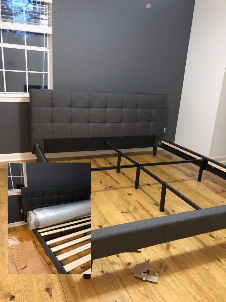 Bed frame for Modern Farmhouse Bedroom Makeover