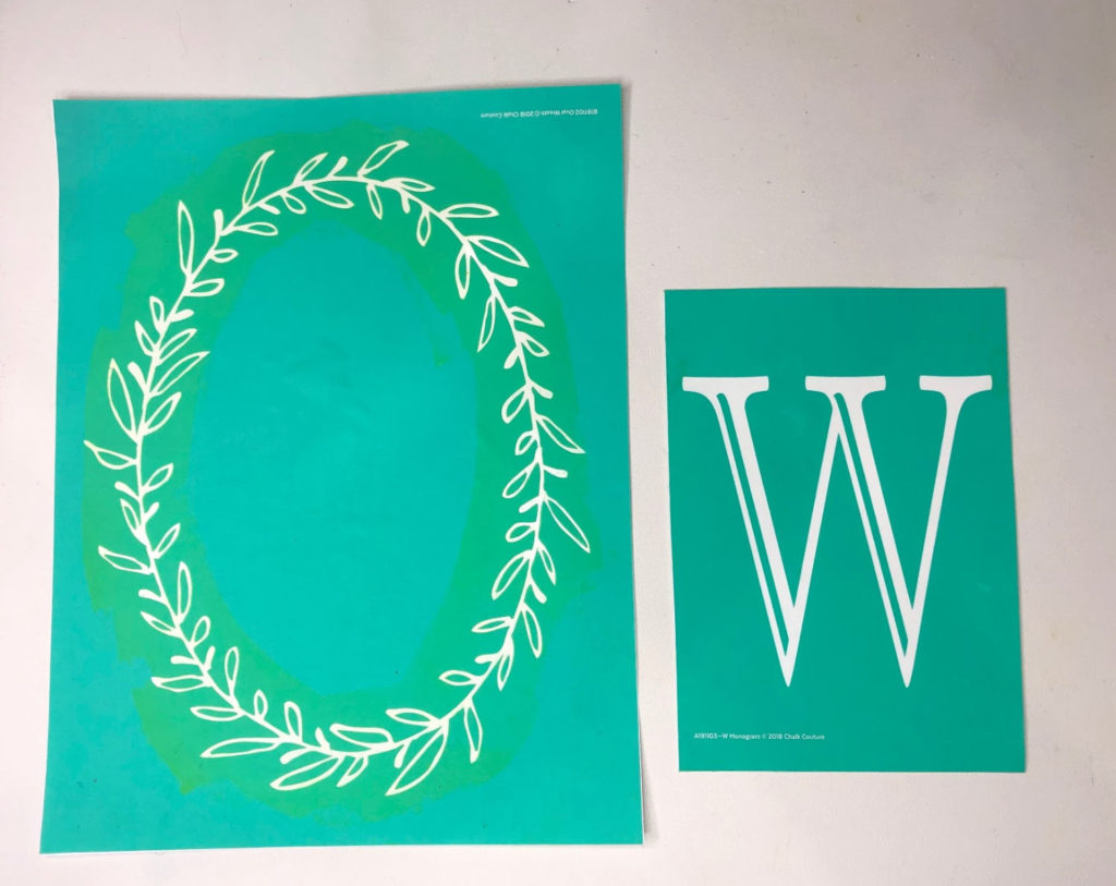 Chalk Couture transfers - Oval Wreath and Monogram