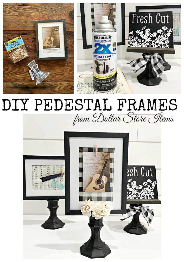 DIY Pedestal frames from Dollar Store items