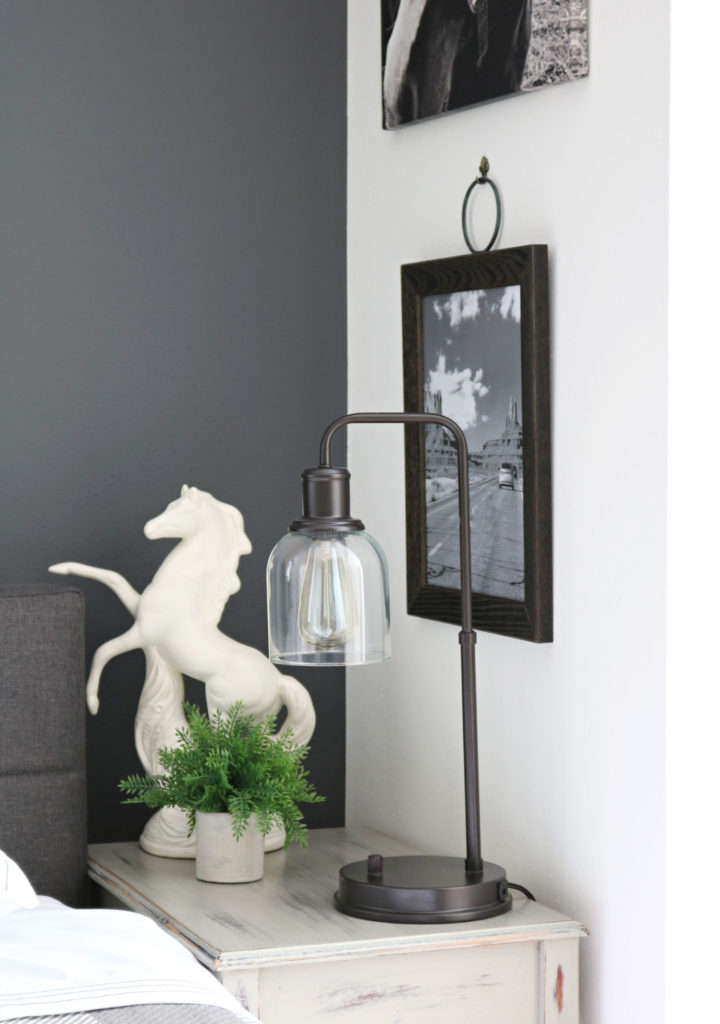 Frame and BHG lamp in the Modern Farmhouse Bedroom Makeover