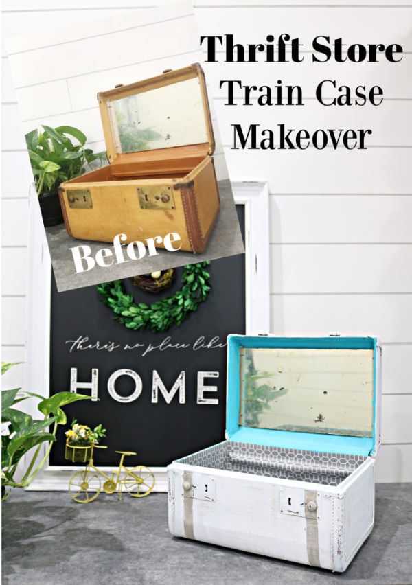 Vintage train case makeover - create a fresh look for an old thrift store find