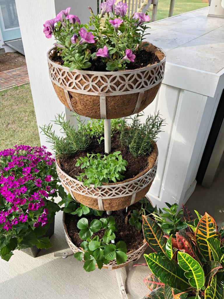 flowers and veggies planter