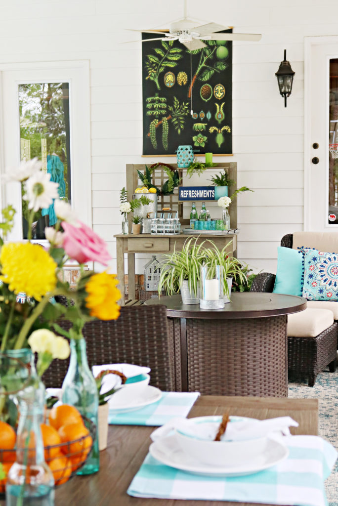 Covered porch dining idea - Back Porch Entertaining Ideas - affordable farmhouse inspired