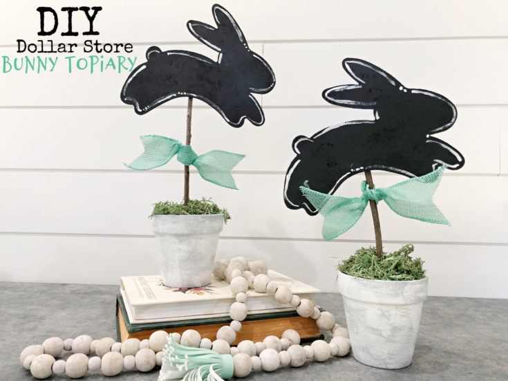 DIY Bunny Topiary Easter Home Decor