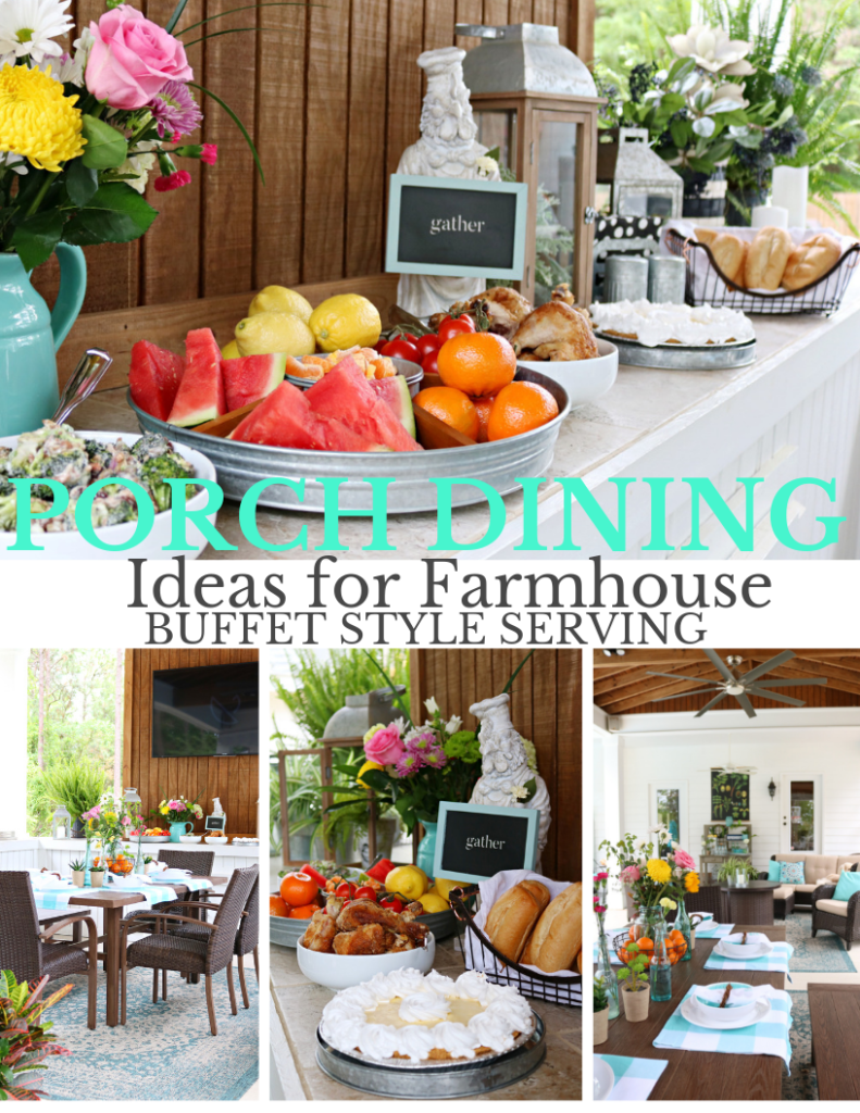Farmhouse Outdoor buffet dining - Back Porch Entertaining Ideas - affordable farmhouse inspired