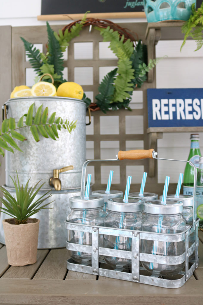 Mason Jar drink caddie - Back Porch Entertaining Ideas - affordable farmhouse inspired