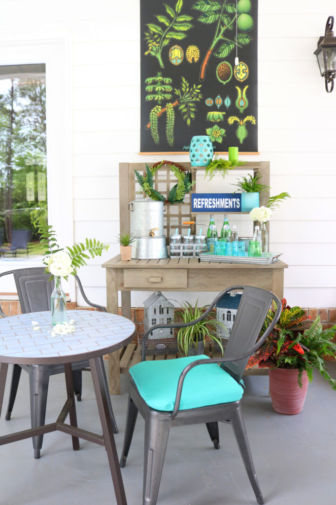 Porch beverage potting bench - Back Porch Entertaining Ideas - affordable farmhouse inspired