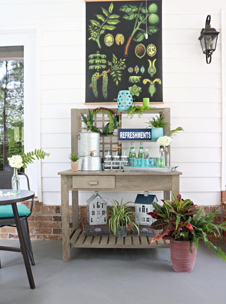 beverage area on porch - Back Porch Entertaining Ideas - affordable farmhouse inspired