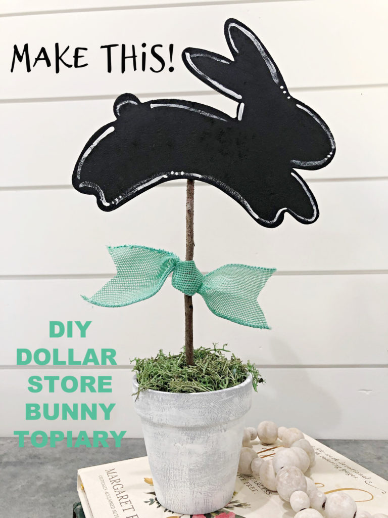 easy DIY bunny topiary