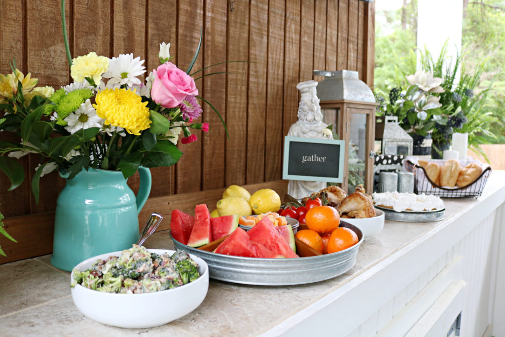 food spread for porch party- Back Porch Entertaining Ideas - affordable farmhouse inspired