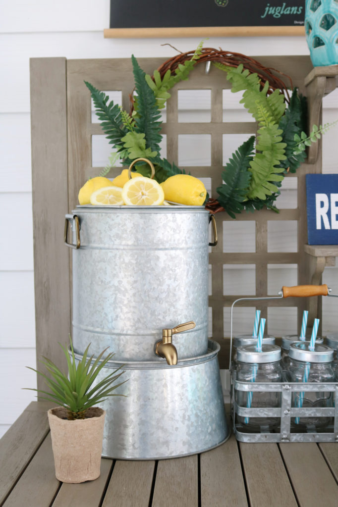 galvanized drink holder - Back Porch Entertaining Ideas - affordable farmhouse inspired
