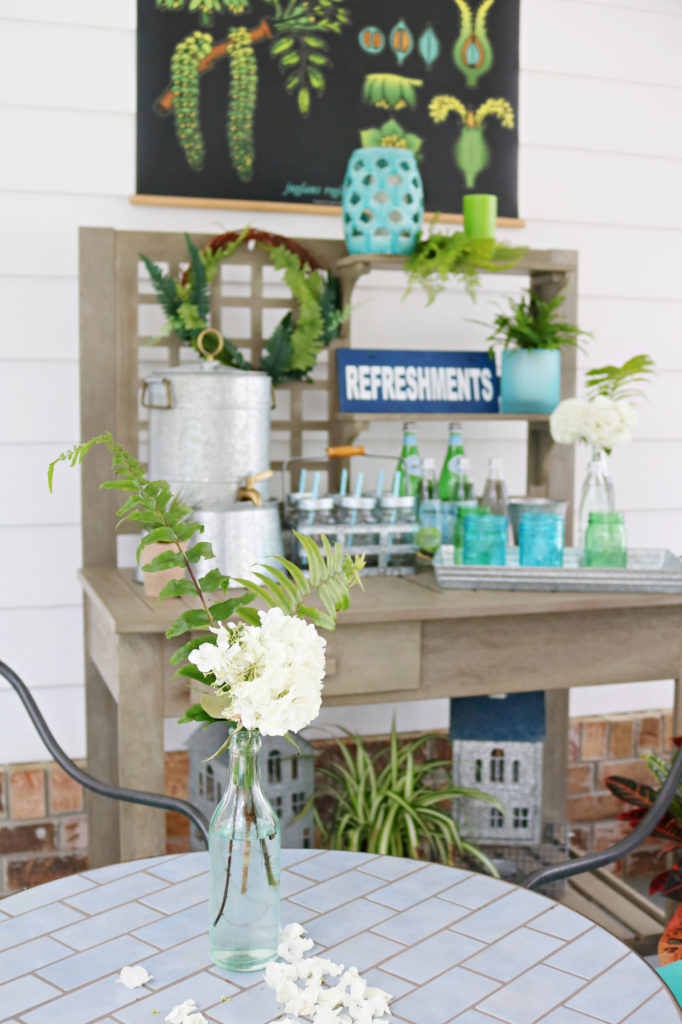 potting table beverage area- Back Porch Entertaining Ideas - affordable farmhouse inspired