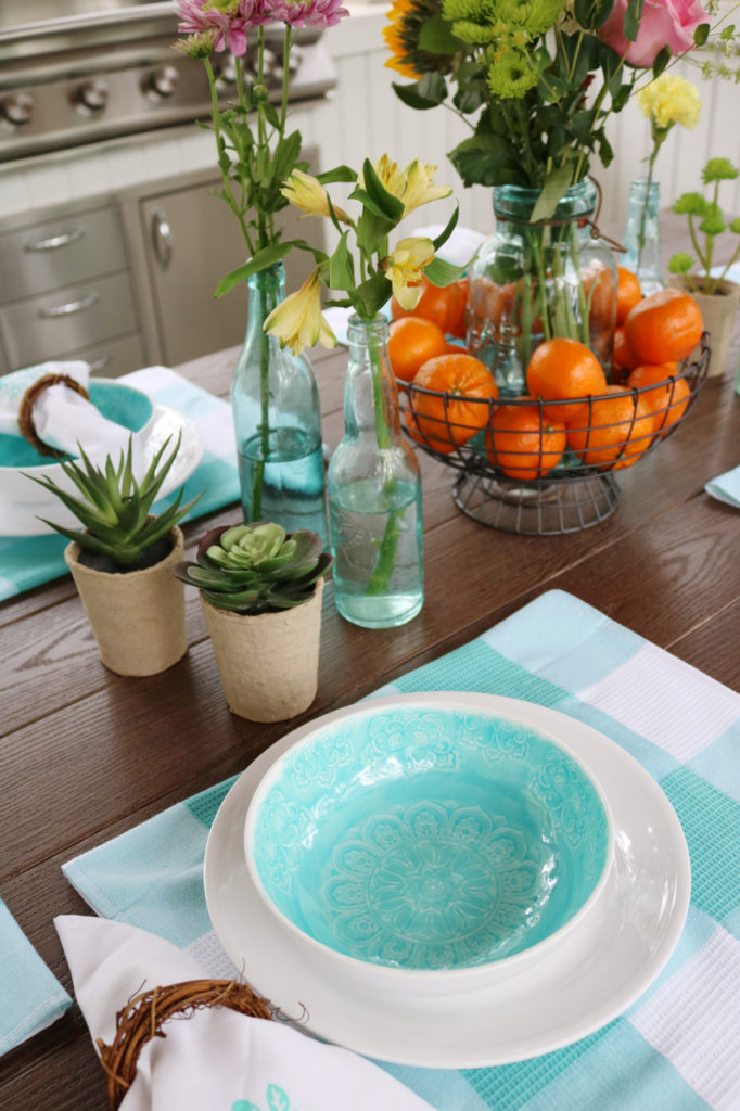 Back Porch Entertaining Ideas - affordable farmhouse inspired - white and teal melamine dishes