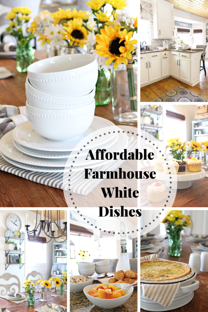 Affordable white dishes buffet mothers day and everyday! Perfect for farmhouse style.