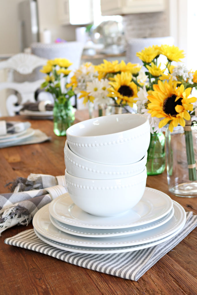 Better Homes & Gardens Porcelain serving pieces - White Farmhouse dishes perfect to Mother's Day or any day.