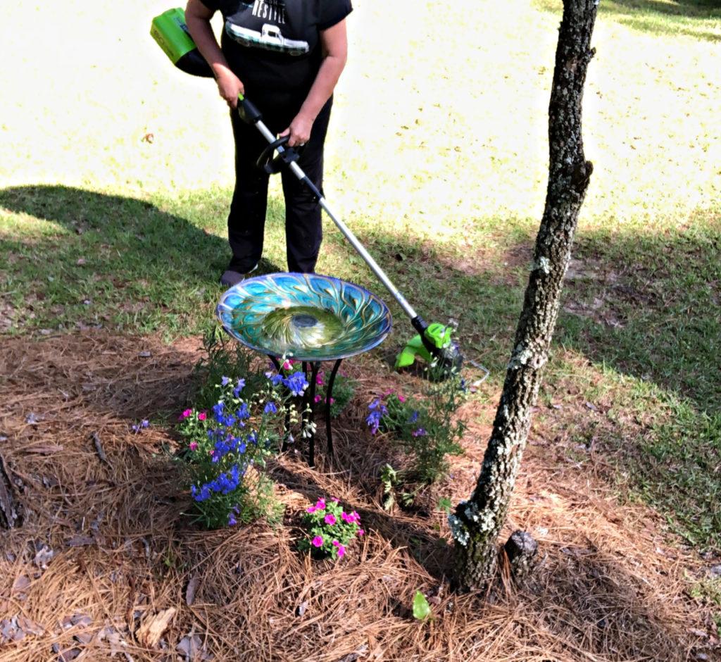 weeding with Greenworks trimmer