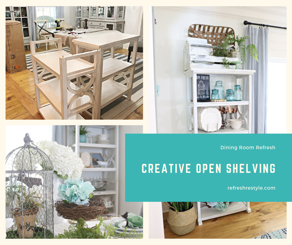 Creative open shelving for the dining room.